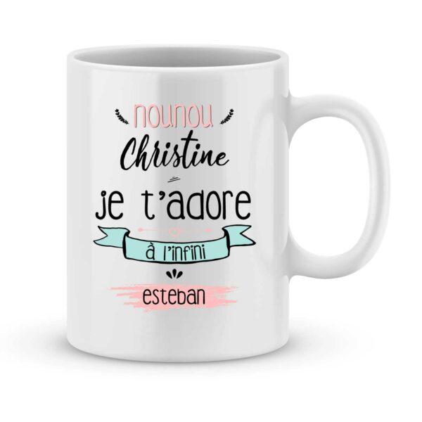 Mug personnalisé avec un prénom nounou je t'adore