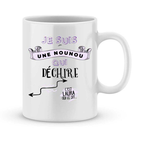 Mug personnalisé avec un prénom nounou qui déchire