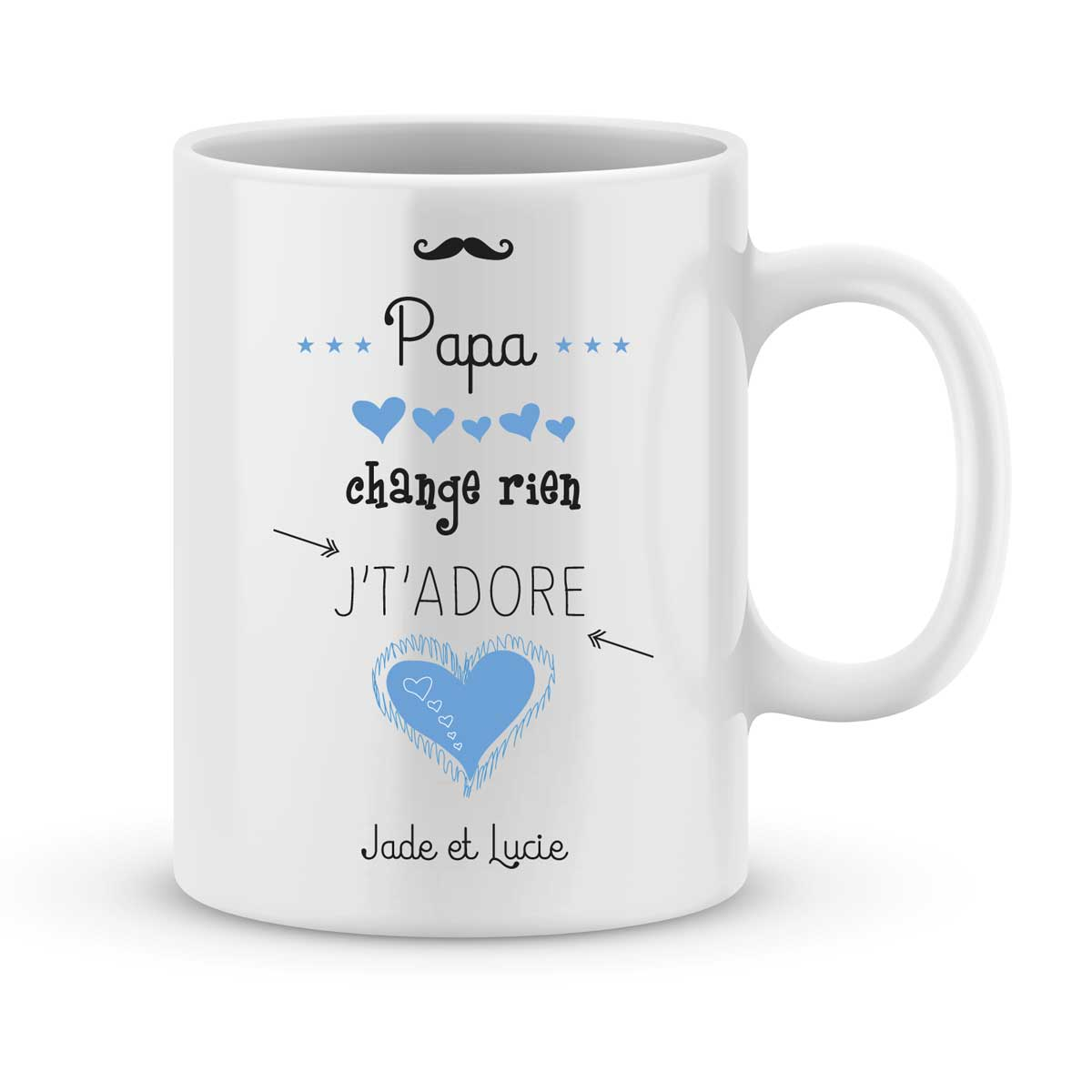 mug personnalis avec un pr nom papa je t 39 adore joli mug. Black Bedroom Furniture Sets. Home Design Ideas