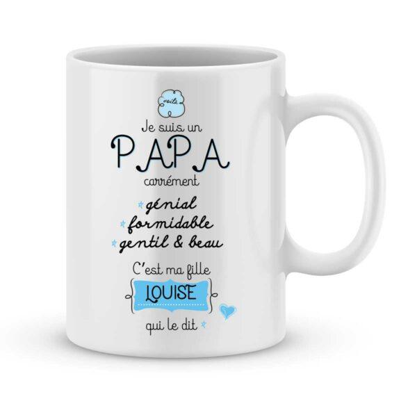 Mug personnalisé avec un prénom papa carrément génial (de ma fille)