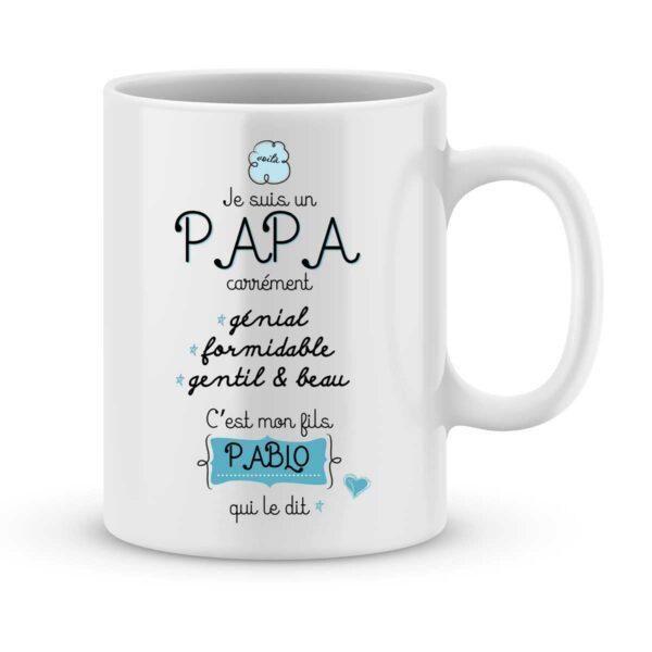 Mug personnalisé avec un prénom papa carrément génial (de mon fils)