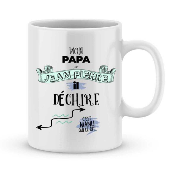 Mug personnalisé avec un prénom mon papa il déchire