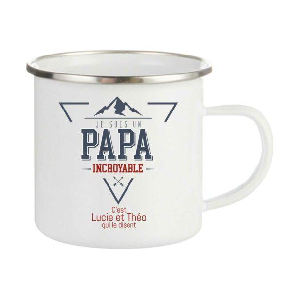 Tasse personnalisée émaillée mon papa est incroyable