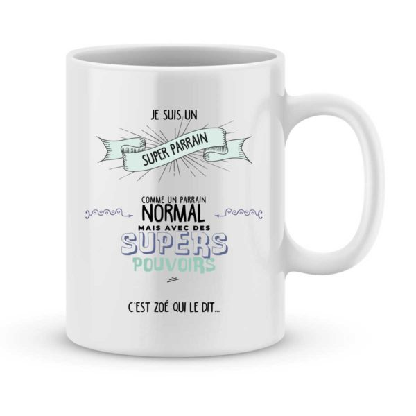 Mug personnalisé avec un prénom super parrain