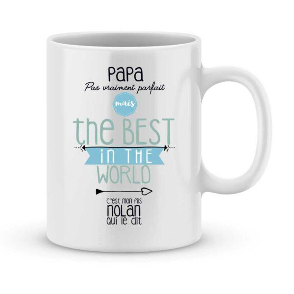 Mug personnalisé avec un prénom papa the best in the world (de mon fils)