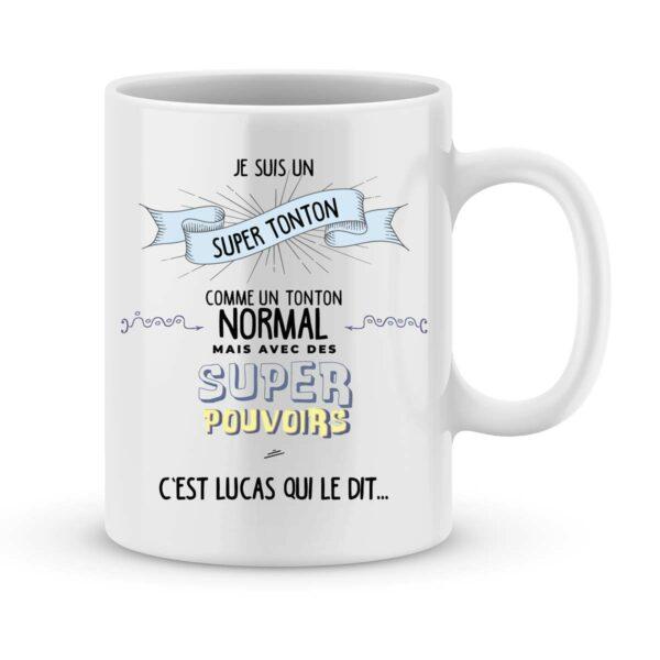 Mug personnalisé avec un prénom tonton super pouvoirs