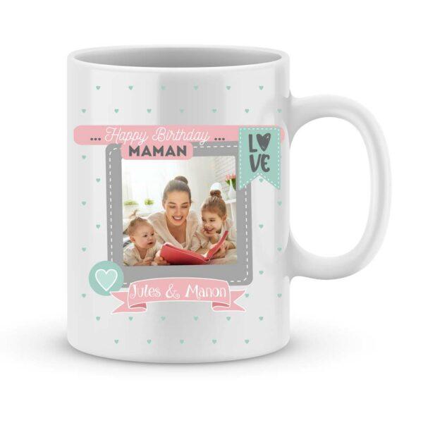 Cadeau anniversaire Maman avec photo et 2 prénoms