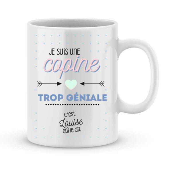 Mug personnalisé avec un prénom copine trop géniale