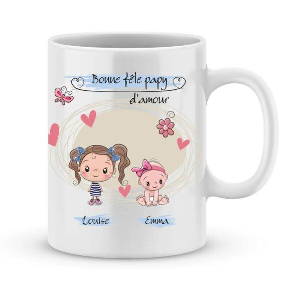 Cadeau fête des papys avec illustration enfant et prénom