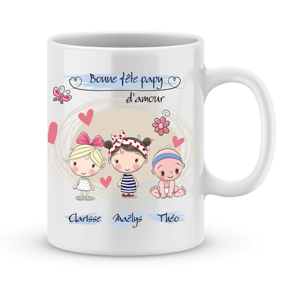 Audacieuse Cadeau fête des papys avec illustration enfant et prénom - Joli Mug VY-27