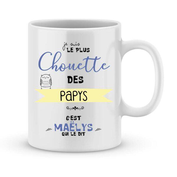 """Cadeau papy - Mug personnalisé """"le plus chouette des papys"""""""