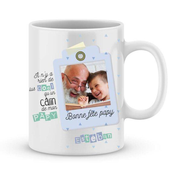 Cadeau fête des papys - Mug personnalisé câlin papy