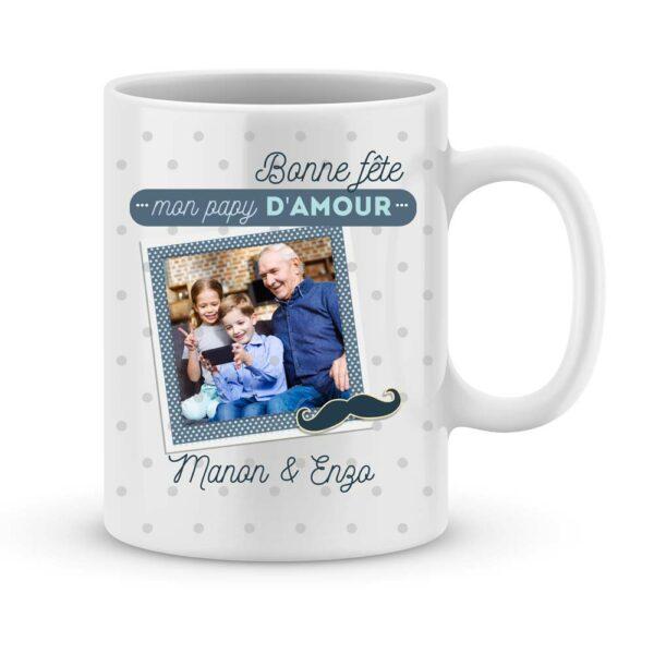 Mets de la bonne humeur dans le café de ton papy ; il va adorer… Tu peux accompagner cette tasse d'un énorme câlin et d'une brouette de bisous…