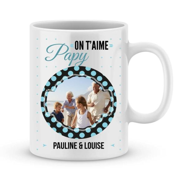Cadeau on t'aime papy - Mug personnalisé photo & prénom