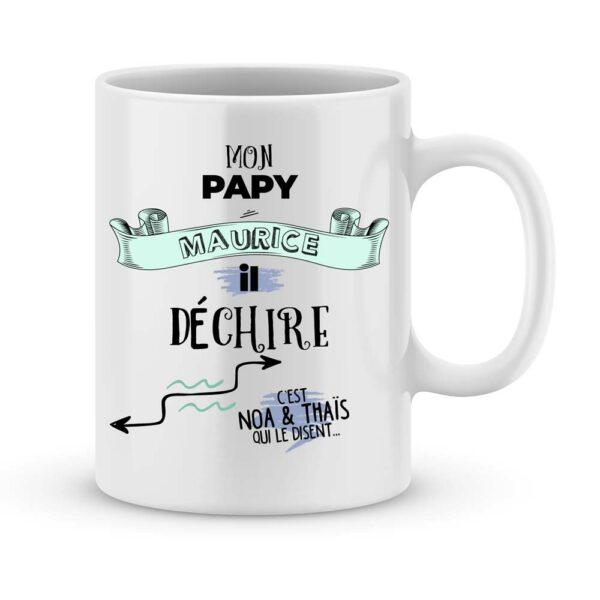 Cadeau papy - Mug personnalisé papy déchire avec prénom