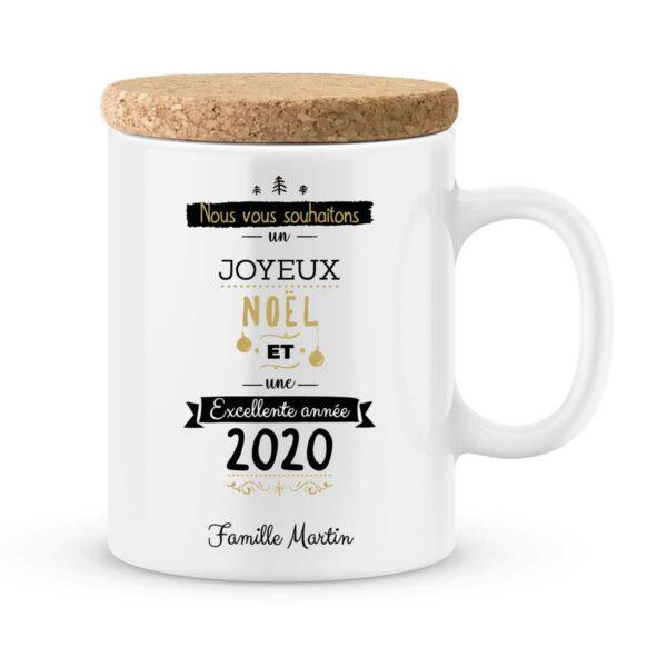 Cadeau personnalisé. Mug Joyeux Noël et excellente année 2020