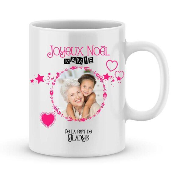 Cadeau joyeux noël mamie avec photo et prénoms