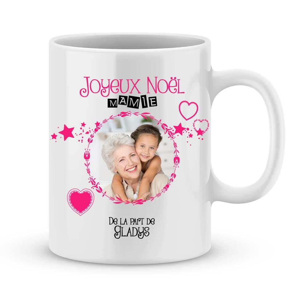Cadeau joyeux noël mamie avec photo et prénoms   Joli Mug