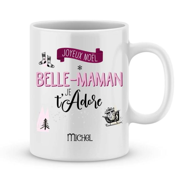 Cadeau belle-maman. Mug personnalisé joyeux noël