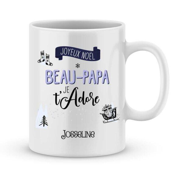 Cadeau beau papa. Mug personnalisé joyeux noël