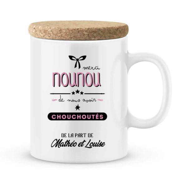 Cadeau nounou. Mug personnalisé avec prénom merci nounou