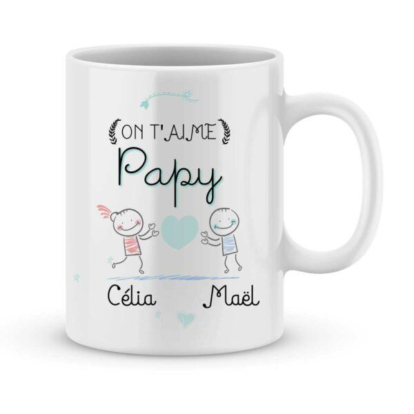 Cadeau papy - Mug personnalisé On t'aime papy