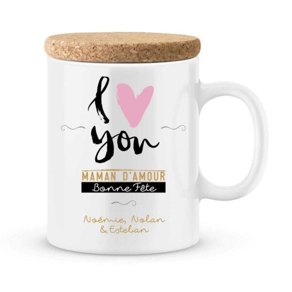 Cadeau fête des mères | Mug personnalisé i love you - Bonne fête