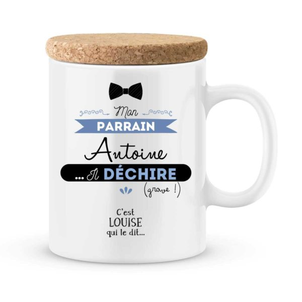 Cadeau parrain - Mug personnalisé mon parrain il déchire grave