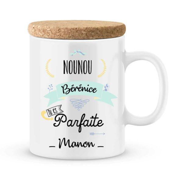 Cadeau nounou. Mug personnalisé nounou parfaite avec prénoms