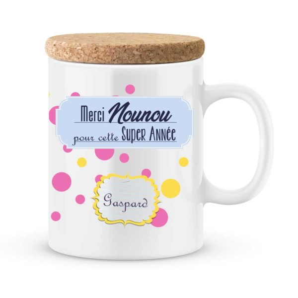 Cadeau nounou. Mug personnalisé avec prénom super année