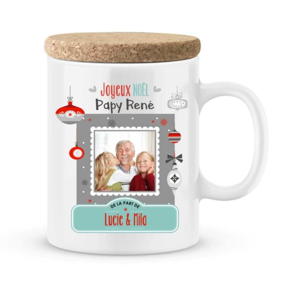 Cadeau noël papy | Mug personnalisé joyeux noël photo et prénom
