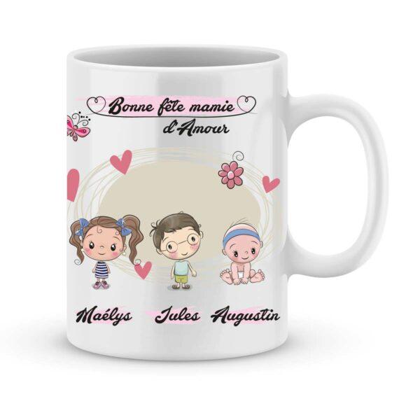Cadeau fête des mamies avec illustration enfant et prénom au choix