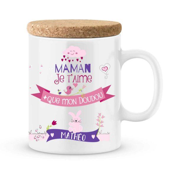 Cadeau maman | Mug personnalisé je t'aime plus que mon doudou