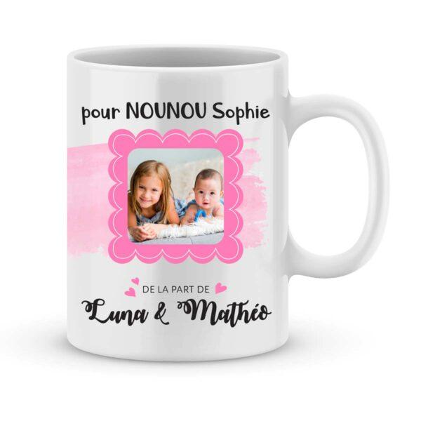 Cadeau nounou. Mug personnalisé prénom & photo nounou au top
