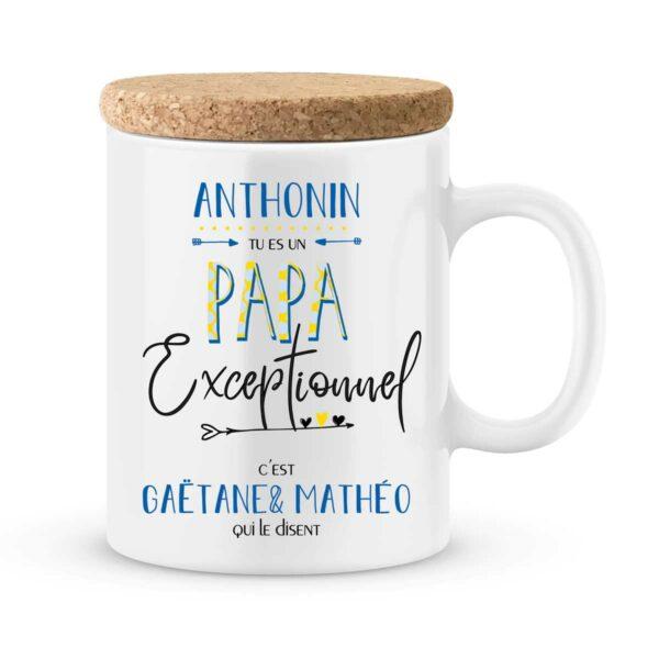 Cadeau papa | Mug personnalisé prénoms pour un papa exceptionnel