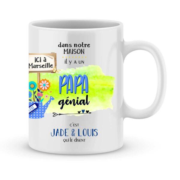 Cadeau papa | Mug personnalisé prénoms pour un papa génial