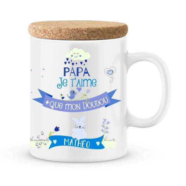 Cadeau papa | Mug personnalisé papa je t'aime plus que mon doudou