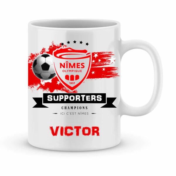 Mug personnalisé avec un prénom foot Nîmes