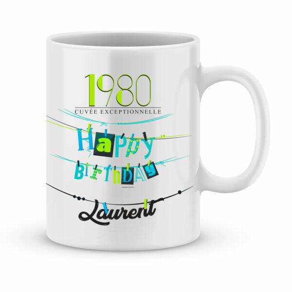 Cadeau anniversaire | Mug personnalisé avec année et prénom