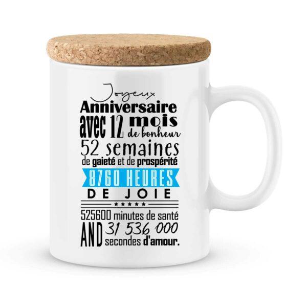 Cadeau anniversaire | Mug personnalisé joyeux anniversaire 12 mois garçon