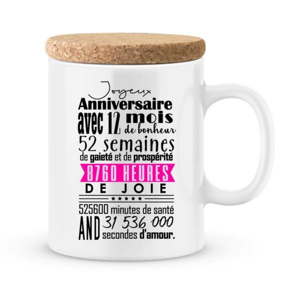 Cadeau anniversaire | Mug personnalisé anniversaire 12 mois fille