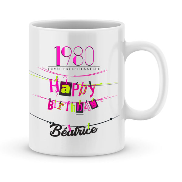 Cadeau anniversaire | Mug personnalisé avec année et prénom femme