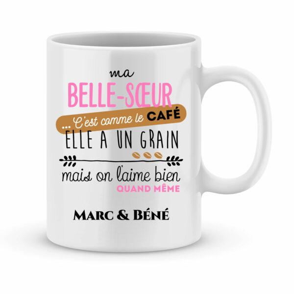 Cadeau humour. Mug personnalisé elle a un grain avec prénom